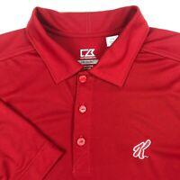 Cutter & Buck Drytec Red Kelloggs Short Sleeve Rugby Golf Polo Shirt Mens L **
