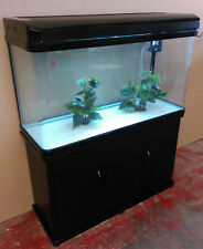 4 ft Curved Glass Fish Tank, Cabinet and hood with lights Brandnew Complete Set