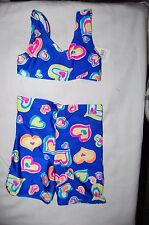Bikini with Shorts Bottoms Blue With Hearts Age 3-4 Years BNWT
