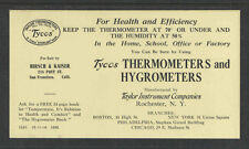 Tycos Thermometers Hygrometers Rochester Ny San Francisco Cal Ink Blotter Unused