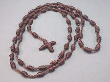 "Rosary Necklace KNOTs Design 29"" Loop 4"" Drop Casual Necklace BROWN Cord"