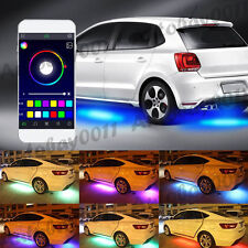 4x RGB LED Car Strip Underglow body Neon Light Kit Sound Active Phone Control