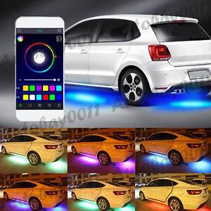 4x RGB LED Car Strip Underglow body Neon Light Kit Sound Active Phone Control