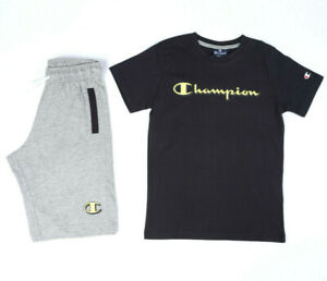 Champion Clothing Boy's Set Sports Fashion Running Kids Black Tshirt Gray Shorts