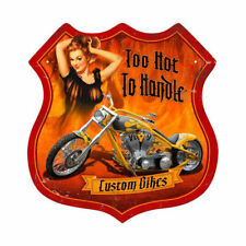 Chopper Custom bikes to Hot fammen pin up Route 66 sign chapa escudo escudo grande