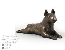 Bull Terrier gésir, statue de chien sur une base en bois, limitée Art Dog FR