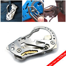 Pocket Stainless Steel multi Tool Outdoor Camping Keychain Carabiner Screwdriver