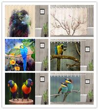 Colored Bird Theme Bathroom Shower Curtain Waterproof Fabric 12 Hooks 71x71inch