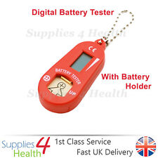RED Digital Hearing Aid Battery Tester With LCD Display & Spare Battery Holder