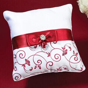 Lillian Rose Wedding Flower Girl Basket or Ring Pillow Red & White Choose Design