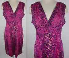 New sz L Tory Burch silk dress logo zipper pink purple black print