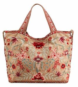 🌺JOHNNY WAS TAYSHIA FLORAL EMBROIDERED LINEN TOTE BAG PURSE NEW  🌺