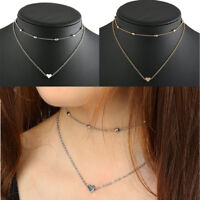 Women Double Layers Heart Pendent Bean Chain Chocker Necklace GifT For Lovers