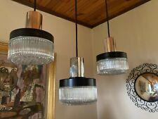 Lustre suspension cascade design vintage 3 feux métal verre plastique noir 70 XX