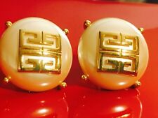 Rare 1980's Vintage Givenchy Huge Faux Pearl Logo Button Earrings Gorgeous!!!