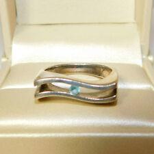 Designer Signed HJR Sterling Silver Wave band Floating Chanel Aqua Ring  4j 34