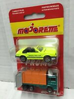 Majorette Promo 2-Pack 1:100 GARBAGE TRUCK + 1:59 MUSTANG CONVERTIBLE Fluo MOC