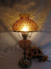 """GWTW HURRICANE AMBER DIAMOND QUILTED PATTERN BRASS TABLE PARLOR LAMP 24"""""""