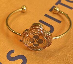 LOUIS VUITTON Rose Monogram Flower Gold Cuff Bracelet Vintage