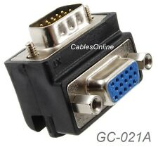 VGA HD15 Right-Angle 90-degree 15-Pin Male to Female Video Adapter, GC-021A