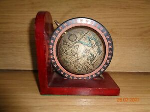 One Vintage Solid Wood Book end with Rotating World Globe