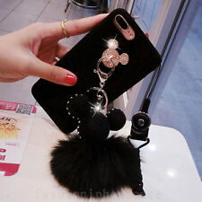 3D Cute Metal Disney Mickey Mouse Soft Fuzzy Plush Ball Phone Case Cover & Strap