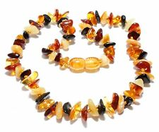 Genuine Baltic Amber Chips Baby Necklace for Child Mixed 13 - 13.8 in