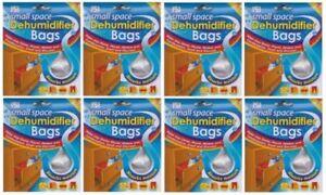 8 x Small Space Interior Dehumidifier Bags Damp Mildew Absorb Moisture Portable