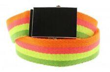 Unisex Neon Multicolour Stripe Novelty Fancy Dress Canvas Belt Adjustable