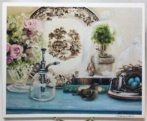 Signed ROSES VIGNETTE Fine Art Giclee Print LARA HARRIS Still Life Robins Nest