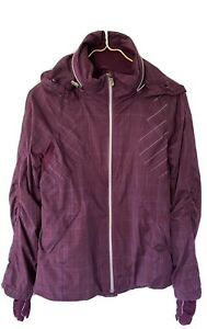 Lululemon 4 Maroon Purple Full Zip Reflective Hideaway Hood Jacket Thumb Holes