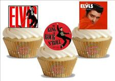 12 Novelty Elvis Trio Mix Edible Cupcake Cake Toppers Decorations The King