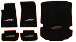 NEW! BLACK FLOOR MATS 2016-2020 Camaro 50TH Fifty Anniversary Logo Orange All 5