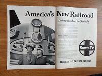 1953 Santa Fe Railroad Ad America's New Railroad Looking ahead on the Santa Fe