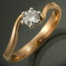 Sparkling Solid 14K YELLOW GOLD DIAMOND SOLITAIRE SWIRL RING Val=$1910  Sz P1/2