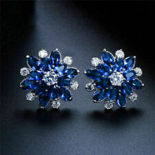 2Ct Marquise Cut Blue Sapphire Push Cluster Stud Earrings 14K White Gold Finish.