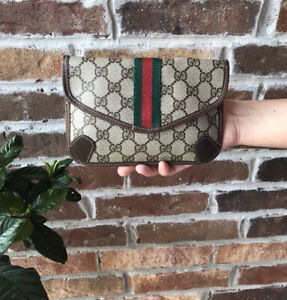 GUCCI Vintage Web Sherry Line GG Canvas Pouch Green Red PVC Leather Pouchette