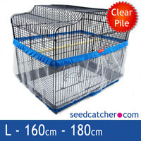 Bird Cage Seed Catcher Guard Tidy Pile Fabric Blue Large 180cm Double Strap