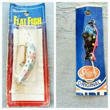 2 Vintage Fishing Lures Wordens Flat Head Charlie Helin Schoffs Original Single