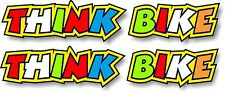 SMALL Pair of Rossi Style THINK BIKE Safety Warning car Biker sticker decal 5x1""