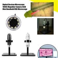 1000X 8LED USB Digital Microscope Endoscope Zoom Camera Magnifier Stand