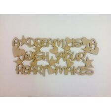 "Laser Cut ""A dream is a wish your heart makes."" house sign, wooden quote A74"