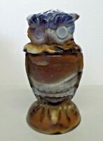 Vintage Imperial Swirl Slag Glass Figural Owl Covered Candy Dish Brown Blue