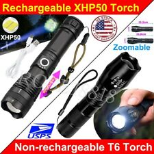 Powerful XHP50 LED Flashlight Torch 5Modes Zoomable USB Rechargeable 18650 26650