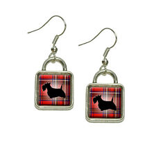 Scottie Dog on Red Plaid Scottish Terrier Dangling Drop Square Charm Earrings