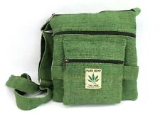 Hemp Crossbody Saddle Bag Purse Boho Hippie Green Travel Shoulder Bag