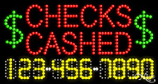 """New """"Checks Cashed"""" 32x17 w/Your Phone Number Solid/Animated Led Sign 25057"""
