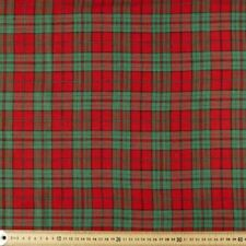 RED & GREEN CHRISTMAS PLAID METALLIC QUILTING FABRIC NO. 11