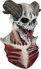 Halloween DEVIL BIZARRE HORNED SKULL ADULT LATEX DELUXE MASK COSTUME NEW