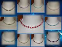 BUY5GET1FREE MIX COLOUR GLASS PEARL TEEN LADIES CHOKER OR SHORT FASHION NECKLACE